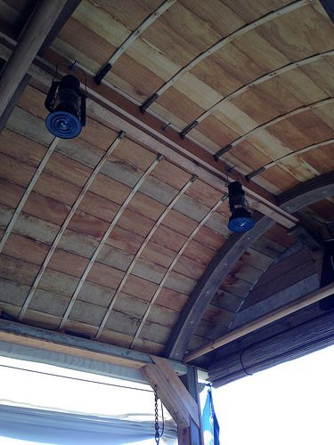 Inside the hand crafted boat roof, Clinker Style.
