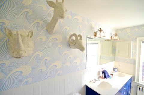 sea themed bathroom wallpaper for bathroom makeover