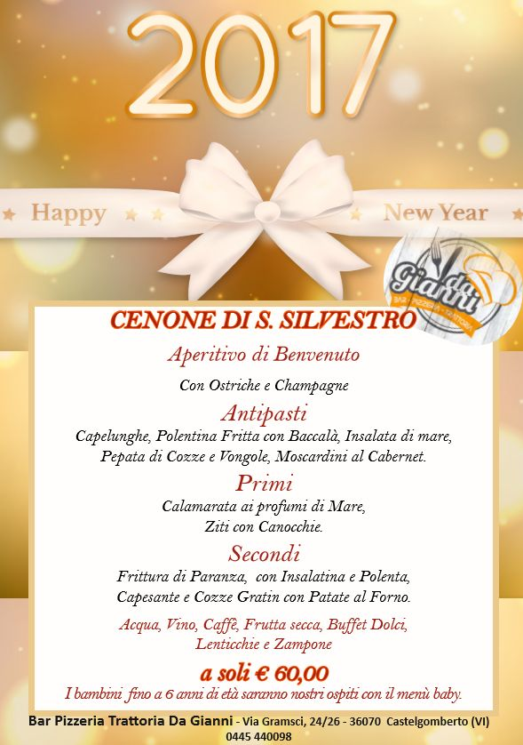 Ristorante con menù di San Silvestro – Vicenza – Ristorante Pizzeria da Gianni