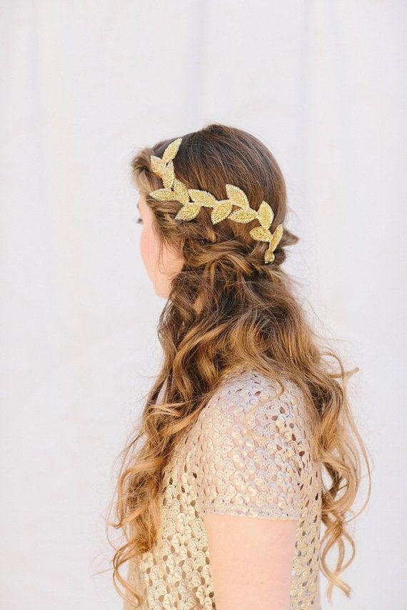 Gold Bridal Fascinator, Beaded Leaf Headband, Grecian Bridal Hair Piece, Tiara, Halo, Crown, Wedding Headpiece, Cleo Ships in 1 Month