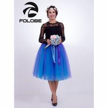 FOLOBE Paars & Blauw 65 cm Lange Baljurk Tutu Tule Rokken Vrouwen Geplooide Amerikaanse Kleding Lolita Petticoat faldas mujer saias Jupe(China)