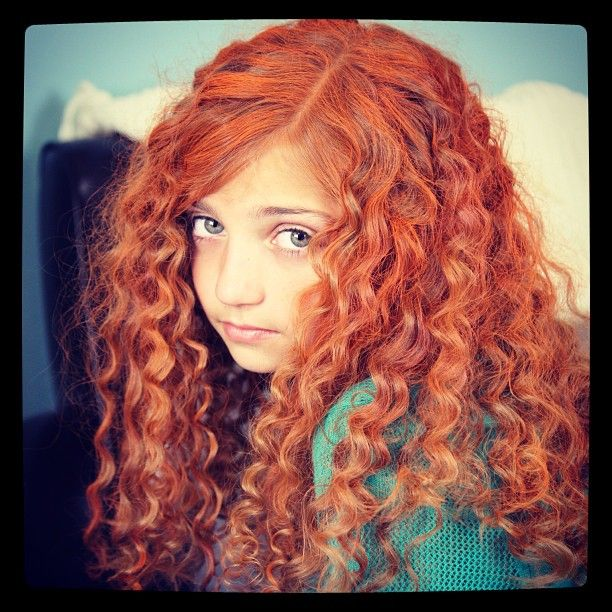 Spiral Curl Using Straws And Orange And Red Spray On Hair