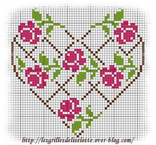 Coeur de roses grille de point de croix gratuite - Les grilles de Liselotte