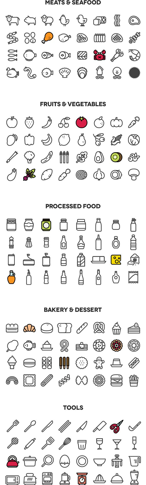 This is a set of 160 cooking line type icons, with solid and colored version.It is seperated into 5 parts; meat&seafood, fruits&vegetable, processed food, bakery&dessert, tools.Most icons are designed in 72x72px square, but some lean and long icons ar…