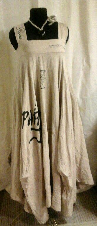HF-R Linen dress with handprinting