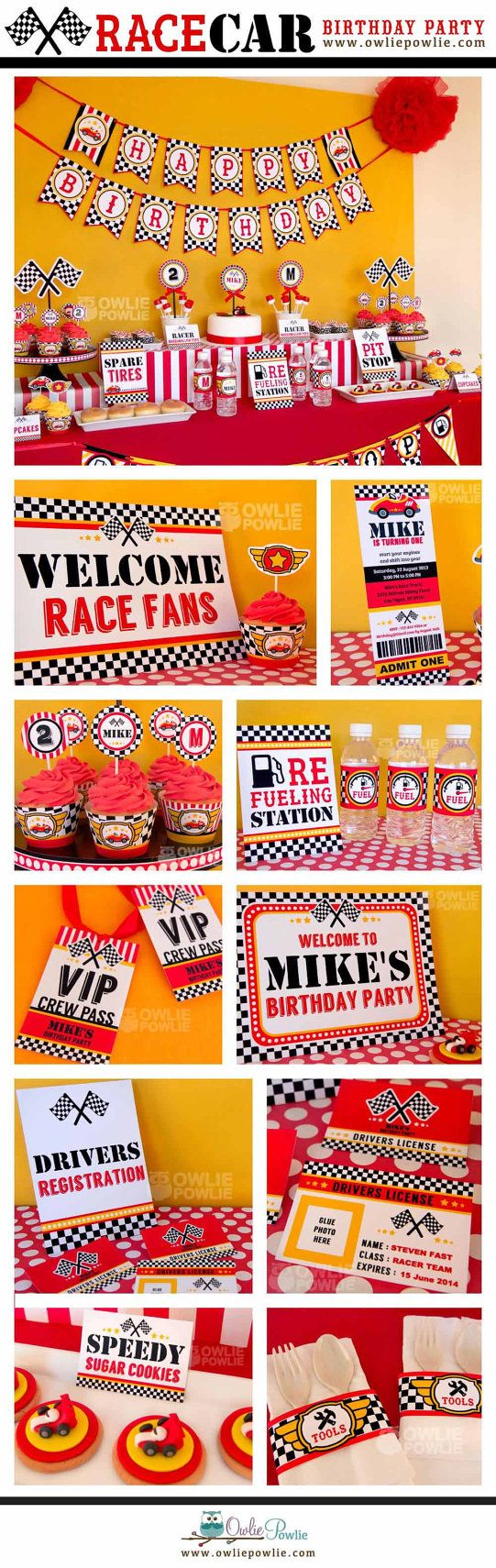 Race Car BIRTHDAY Party Printable Package & Invitation, INSTANT DOWNLOAD, You Edit Yourself with Adobe Reader on Etsy, $29.00