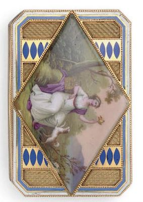 A SWISS GOLD AND ENAMEL SNUFF BOX  MARK OF FRANÇOIS JOANIN, GENEVA, CIRCA 1790  Canted rectangular, the cover with a lozenge-shaped painted enamel landscape with a seated lady releasing a canary from a cage and accompanied by a faithful dog, against a guilloché opalescent enamel sky, the base, sides and border with blue and white enamel borders and guilloché panels, marked inside cover and base with maker's mark and two prestige marks 2 7/8 in. (7.3 cm.) long