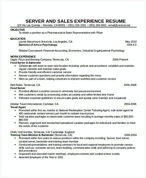 Cocktail Waitress Resume Hotel And Restaurant Management Being