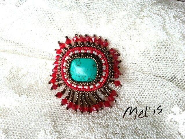 Seed beads brooch Mel'is