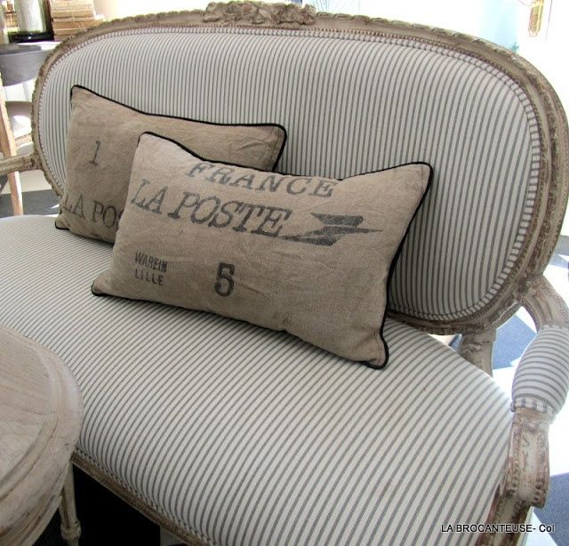 Ticking fabric French sofa Textile Spotlight: The Ticking Trend