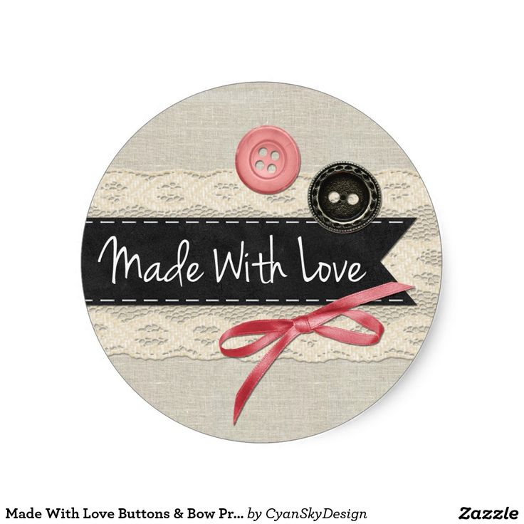 Made with love buttons bow product packaging classic round sticker smallbusiness smallbiz