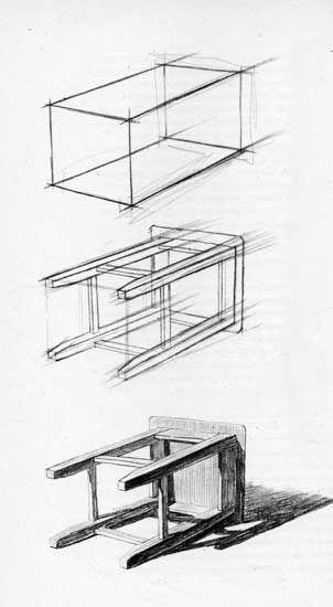 Уроки рисования карандашом, как научиться рисовать предметы. Поэтапное рисование табуретки карандашом. Школа рисования #artintent