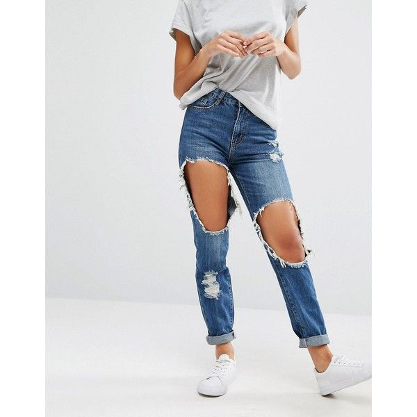 Missguided Riot High Rise Destroyed Mom Jean (€49) ❤ liked on Polyvore featuring jeans, blue, relaxed jeans, destroyed jeans, ripped jeans, slim jeans and high waisted ripped jeans