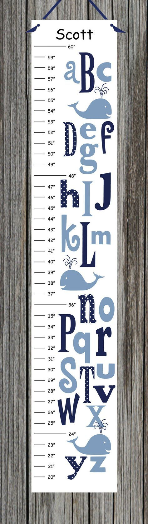 On Sale Personalized ABC Whale Canvas Growth by CamieTurnerDesigns