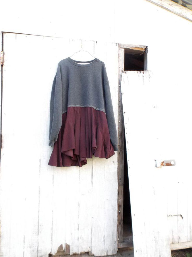 romantische Sweatshirt Tunika / Upcycled Bekleidung / von CreoleSha
