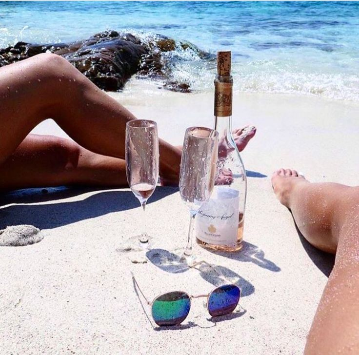 Beach Day with champagne