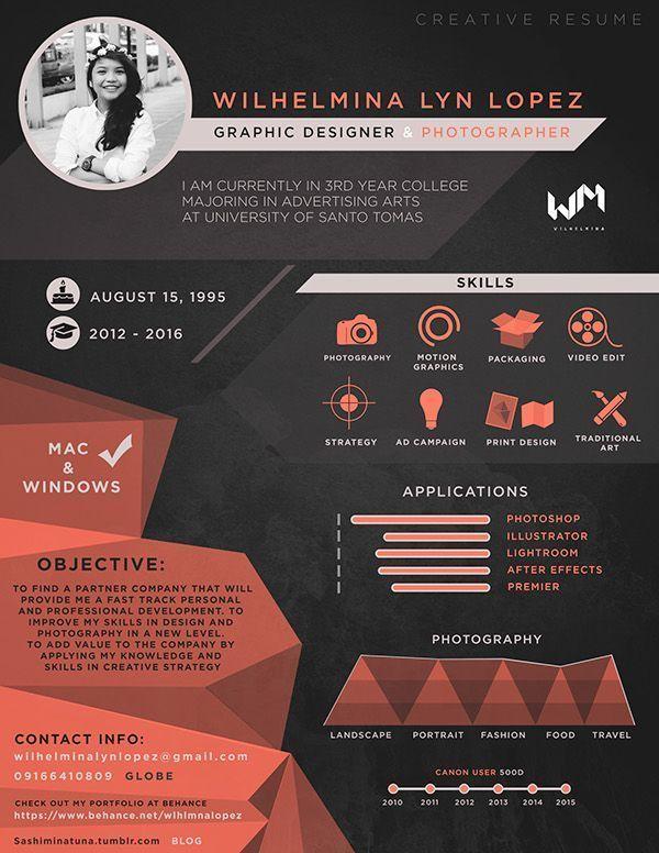 Creative Resume Graphic Design And Photography On Behance การออกแบบโบรช วร เรซ เม ปกหน งส อ