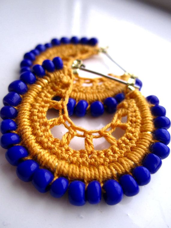 Crocheted hoops in yellow and blue beads by BohemianHooksJewelry, $14.00