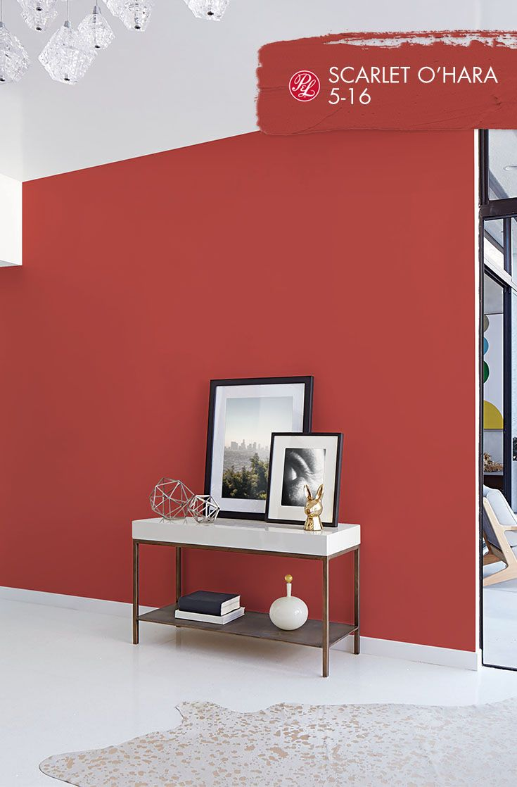 Scarlet O'Hara This midtone red is the perfect paint color to balance bright,  clean modern dcor and framed art. Emphasize its strength with metallic ...