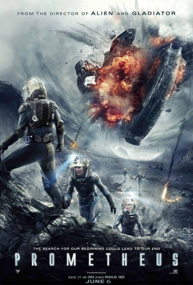 Prometheus---Alien showes up at the end of the movie. Prometheus depicts the Alien got it's start from this movie.