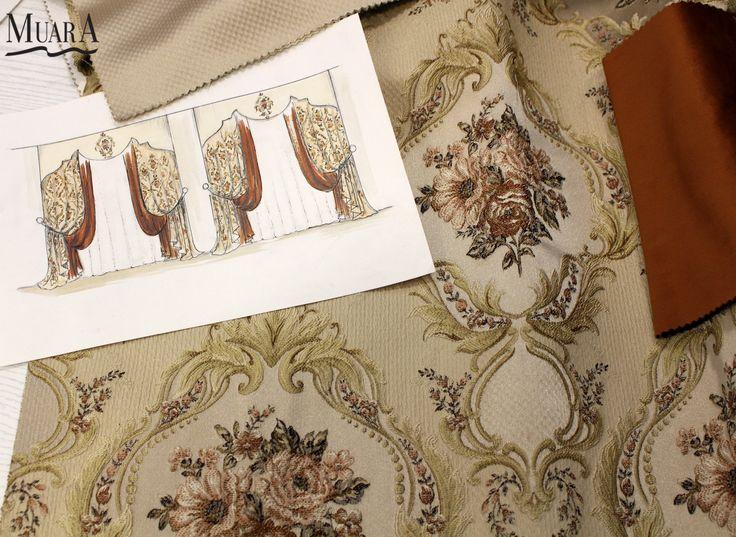 """Эскиз классических штор для загородного дома от салона штор&текстиля """" Muar A"""". Гобелен - это плотная ткань с жаккардовым плетением узора. В компаньон ему мы предлагаем бархат терракотового цвета. А так же фигурное бандо с аппликацией... Мы творим и трудимся для вас без выходных. Мы находимся по адресу: г. Астана, ул. Д.Кунаева, дом 29, 1 этаж, офис 8 (возле отеля """"Дипломат"""") тел: 8 771 055 15 15   www.muar-a.kz"""