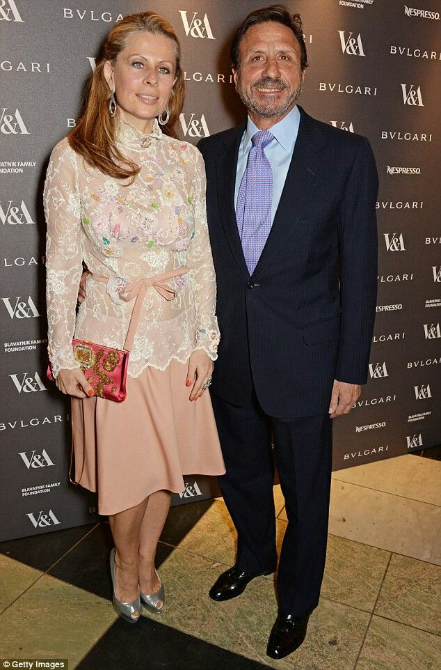 Aliai with her husband Sir Rocco Forte, at the V&A's The Glamour of Italian Fashion exhibition in April 2014