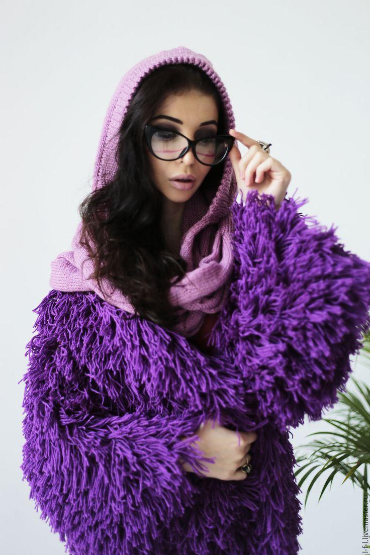 "Купить Вязаный лохматый кардиган "" Фиолетовая фуксия"" - фиолетовый, однотонный, мож, бахрома, с бахрамой"