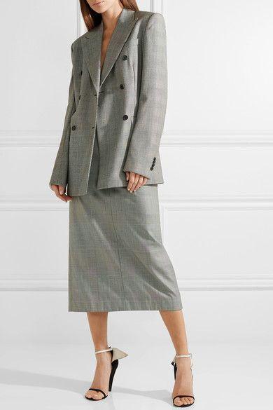CALVIN KLEIN 205W39NYC   Houndstooth wool midi skirt   NET-A-PORTER.COM