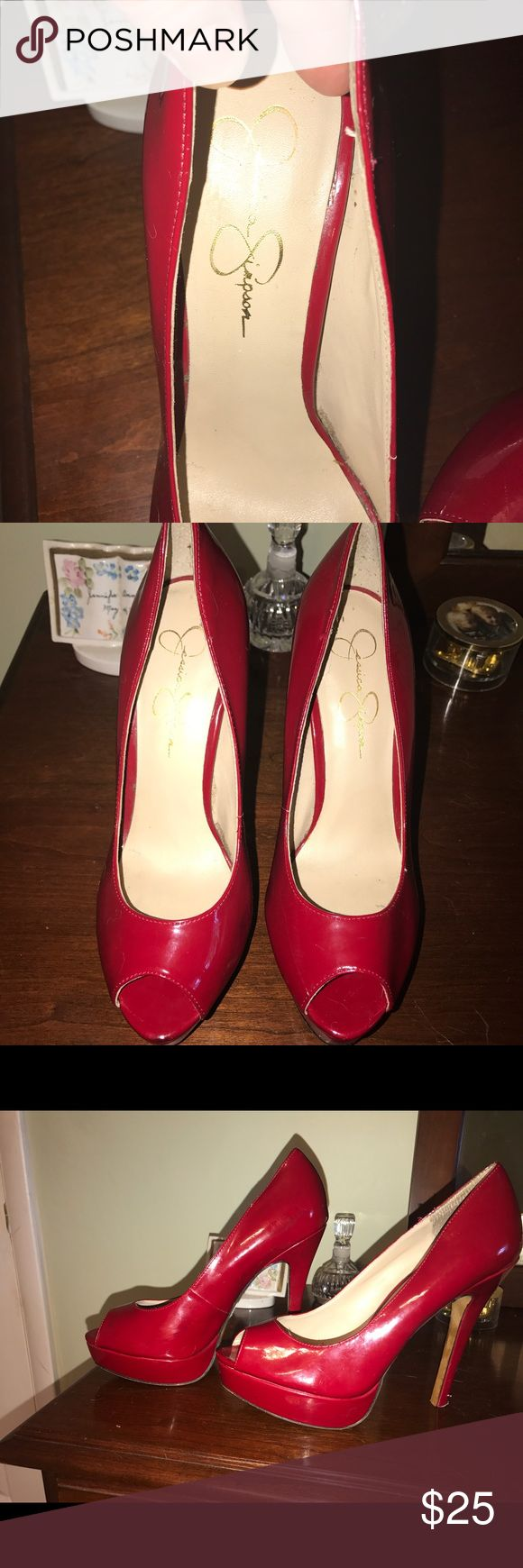 Red patent leather pumps Hot red patent leather pumps worn once great condition Jessica Simpson Shoes Heels