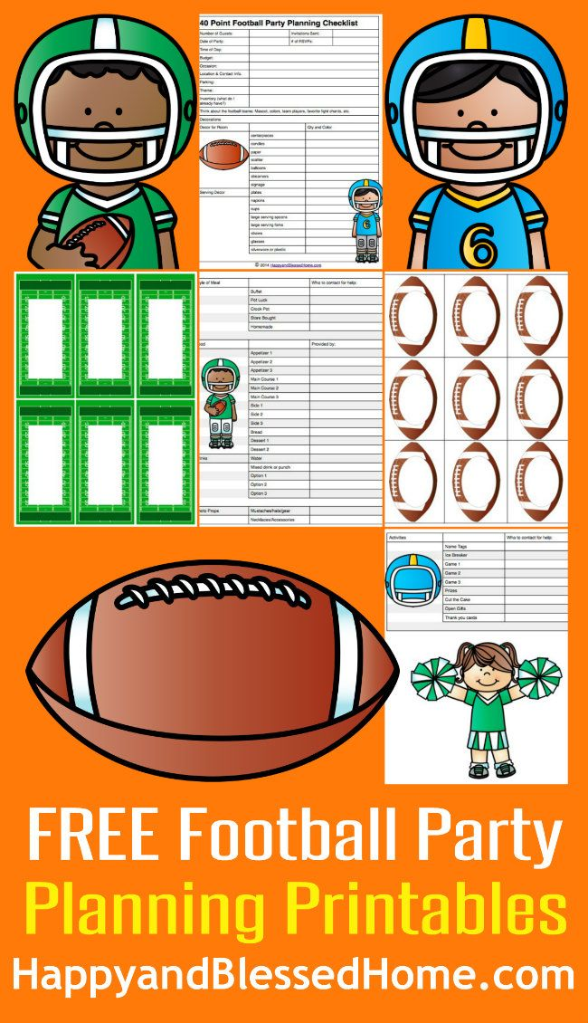 FREE Football Party Planning Printables from HappyandBlessedHome.com