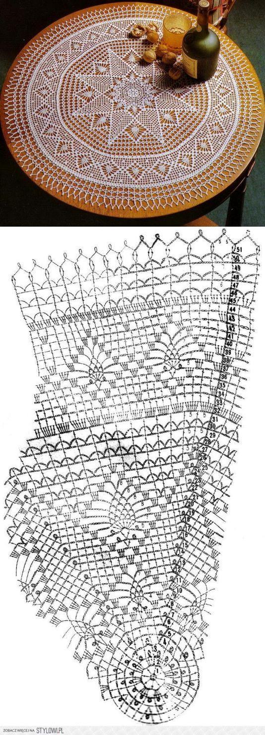 Круглая салфетка крючком схема вязания ..<3 Deniz <3