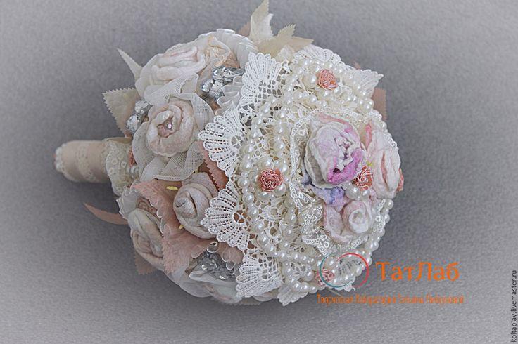 """Купить Букет невесты """"Пикадан"""" - кремовый, букет невесты, свадебный аксессуар, свадебное украшение"""