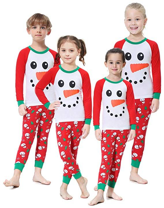72ea0dc02f Amazon.com  Matching Family Christmas Pajamas Boys Girls Snowman Jammies  Children PJs Gift Set  Clothing
