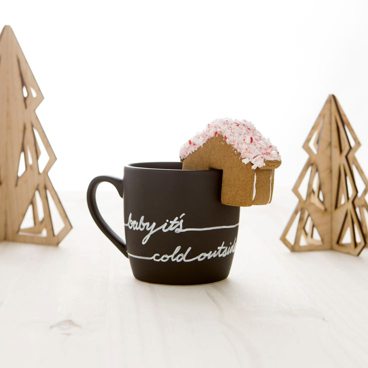 """Baby it's cold outside, so snuggle up with some warm cocoa, coffee, or tea with this DIY mug and gingerbread house set. Created in collaboration with Megan Reardon of <strong>Not Martha</strong>, this kit is just what the holidays ordered. And are you ready for some futuristic DIY action? We 3D printed the cookie cutters -- how cool is that? Learn more about this kit by heading to the<a href=""""http://www.brit.co/holiday-mug-and-gingerbread-house"""">DIY tutorial</a>,and get behind the scenes…"""