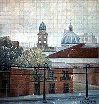 Murales de Buenos Aires - Av. Pedro de Mendoza 2841/91 - La Boca.  Barraca Merlo. Autor: Sobre obra de Fortunato Lacámera (1887 - 1951, Buenos Aires) c.1924, Mural cerámico, 4,80m x 5m.