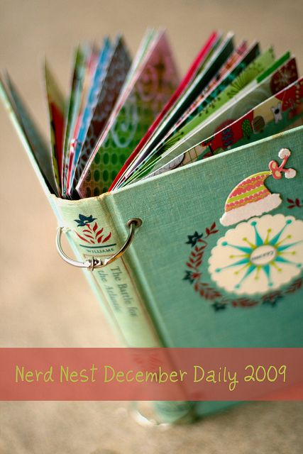 I like the idea of a book cover recycled for a mini album cover.Christmas Cards, Album Covers, December Daily, Minis Album, Nerd Nests, Book Covers, Scrapbook, Scrap Book, Old Books