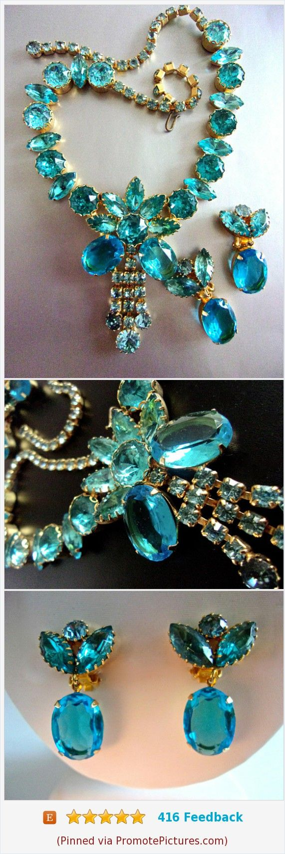 Aqua JULIANA D&E Rhinestone Necklace Earrings Set, Gold Plated, Vintage