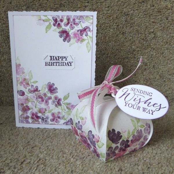 Birthday collection - painted petals by Lynn Donnelly, The card was inspired by a design by Vicky Hayes though I stamped it differently. Stamped curvy keepsakes box to go with it