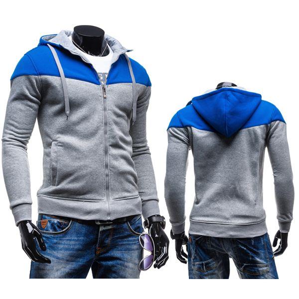 Mens Stitching Zipper Fashion Hoodies Casual Leisure Sweatshirt at Banggood