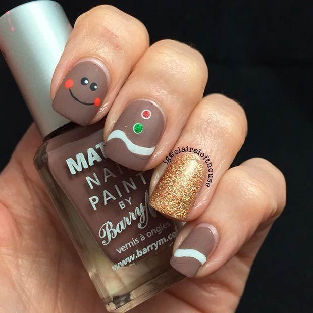 Matte Ginger Bread Nails