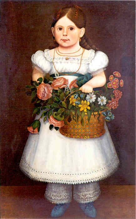 girl in white dress w/large basket of flowers  c1830