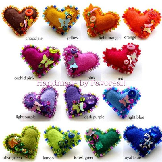 Felt hearts could be done for months of year, with colors for the birthstone and the flower on it.