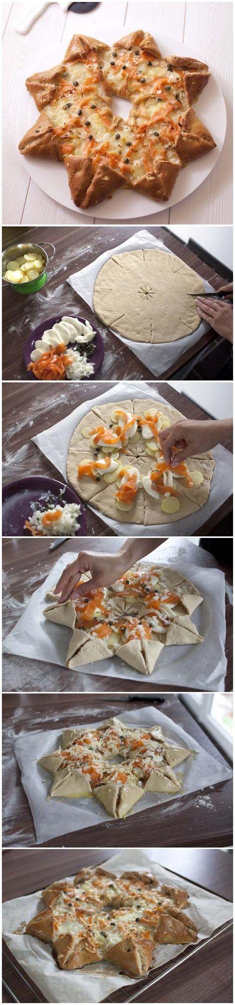 Pizza étoile des neiges au saumon fumé et pommes de terre: