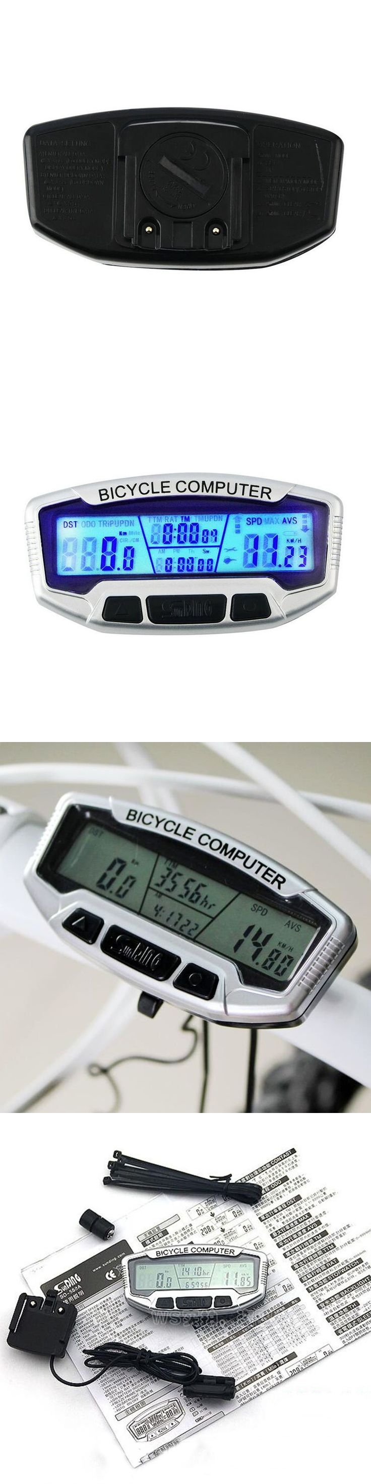Digital LCD Display Bicycle Computer Bike Odometer Speedometer Blue Backlight Thermometer Clock + Stopwatch Cycling Accessories
