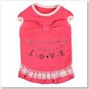 犬服ラブワンピース(ピンク) 犬の服サイズ(S〜XL)