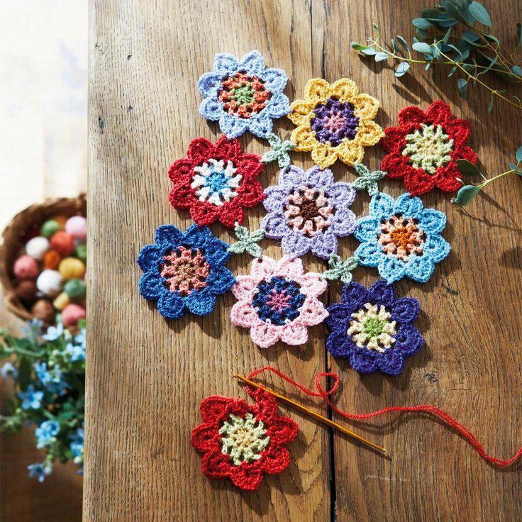 ふんわりやわらかな彩り かぎ針編みお花モチーフ復刻毛糸 30色セット|フェリシモ