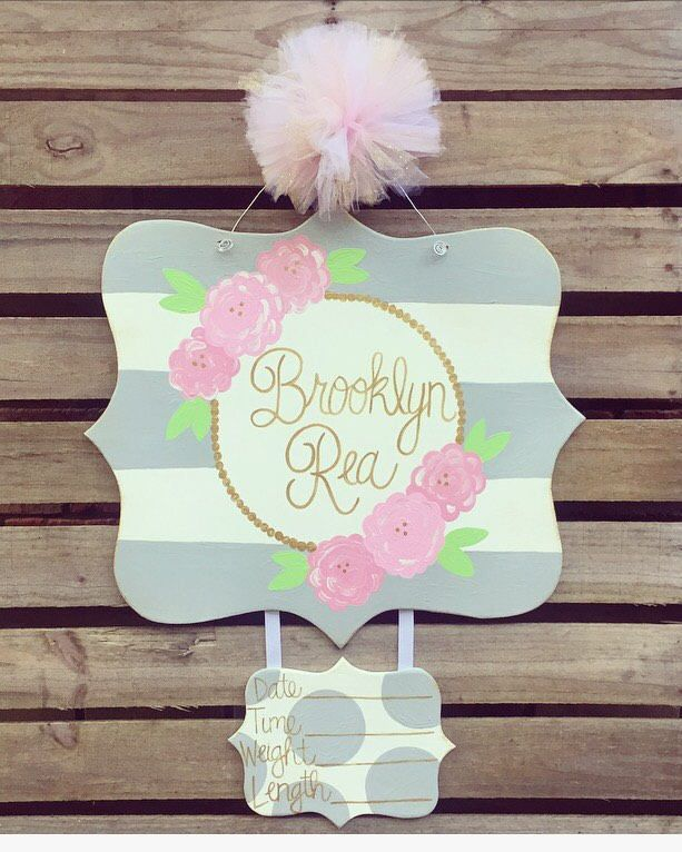 Hospital Door Hanger, Baby Door Hanger, Birth Announcement, Baby Girl Door Hanger, Flower Door Hanger, pink and grey nursery decor by KaleyLakayeKrafts on Etsy