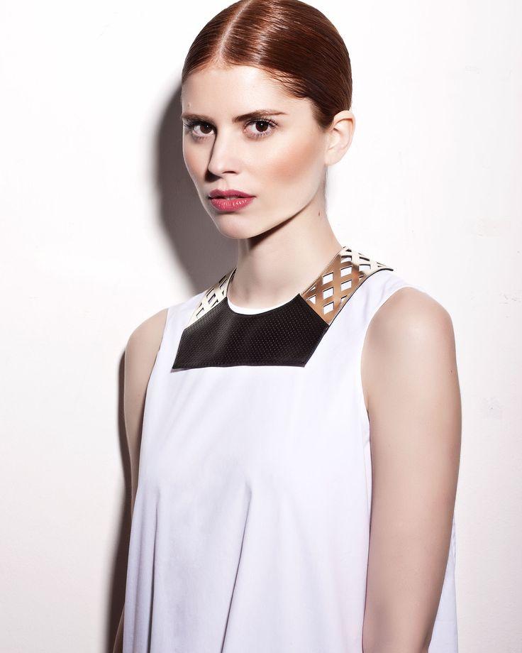 Daniel Havillio leather bib necklace. Docca necklace. Perforated lamb nappa. Leather Jewelry. www.danielhavillio.com