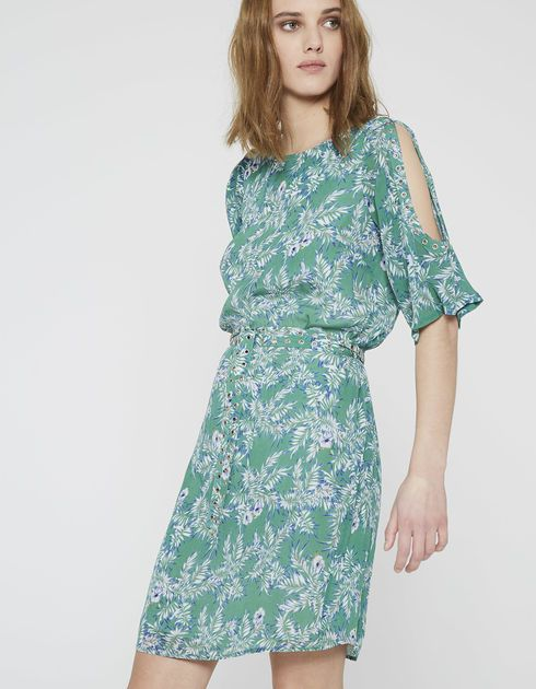 5119ef25261b9b IKKS Jurk met palmprint (BL30495-51). Shop nu en ontdek de laatste Franse  mode en accessoire nu in de IKKS officiële online winkel!