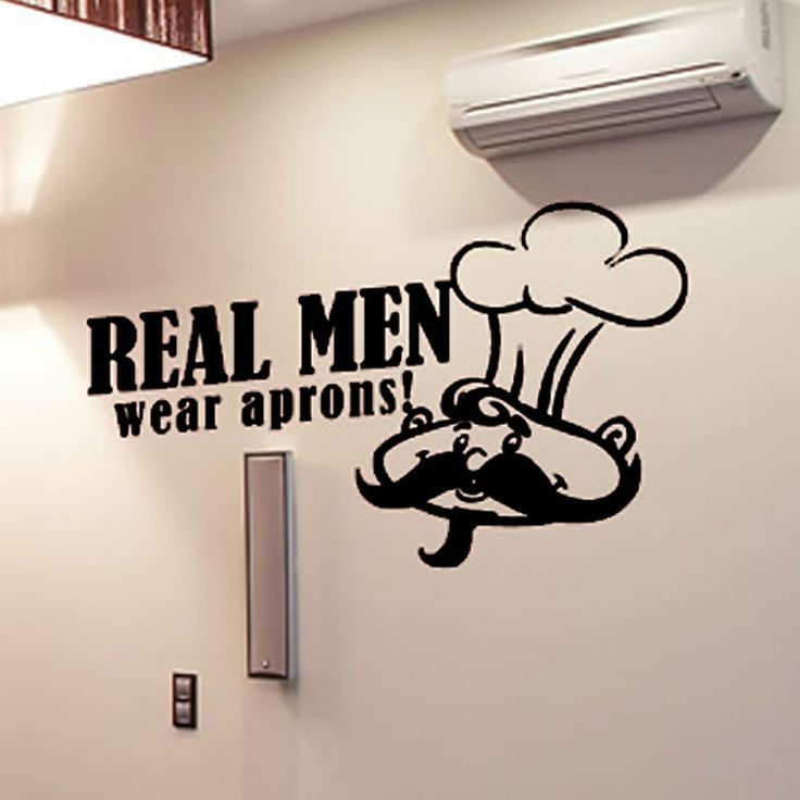 DCTOP Big Beard Cook With A Cap Wall Decal Home Decor PVC Waterproof Real Men Wear Aprons Wall Sticker For Kitchen